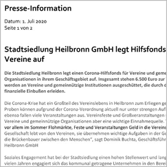 """<img src=""""/wp-content/uploads/2019/09/Stadtsiedlung_Icon_Pressebericht_Zeitung_PDF.svg"""" /> <p>Stadtsiedlung Heilbronn legt Hilfsfonds für Vereine auf </p>"""